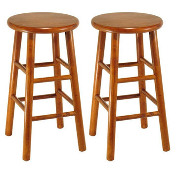 "Set of 2, Beveled Seat, 24"" Stool, Assembled 2"