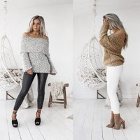 Knit Long Sleeve Women's Fashion Sweater [186297581594]