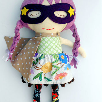 FABRIC DOLL, rag doll, superhero girl, clothdoll, hippie doll, boho doll, dress up doll, soft toy, sensory toy, dolls, custom doll, play set