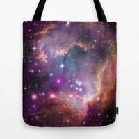 Bright nebula galaxy space and stars hipster geek cool geeky gift  Tote Bag by iGalaxy