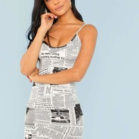 Newspaper Print Bodycon Cami Dress