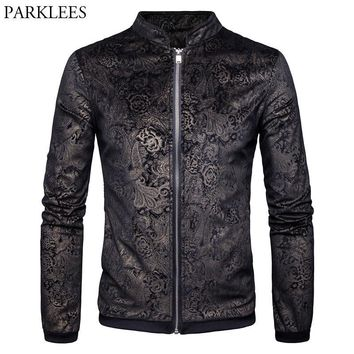 Trendy Paisley Jacket Men 2017 Gold Print Mens Jackets Coats Autumn Winter Men Jacket Casual Stand Collar Male Jackets Casaco Masculino AT_94_13