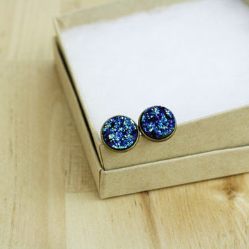 Druzy Earrings Post Earrings Faux Imitation Druzy Drusy Resin Round Brass