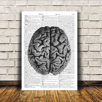 Modern decor Brain poster Dictionary print Anatomy art RTA13