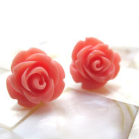 Salmon pink rose earrings coral pink roses on by LazyOwlBoutique