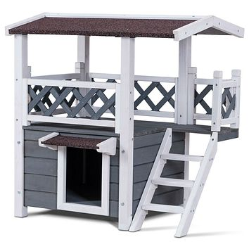 Modern Gray and White 2-Story Outdoor Weatherproof Wooden Cat House
