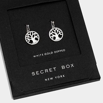 White Gold Dipped Tree Of Life Earrings With Secret Box
