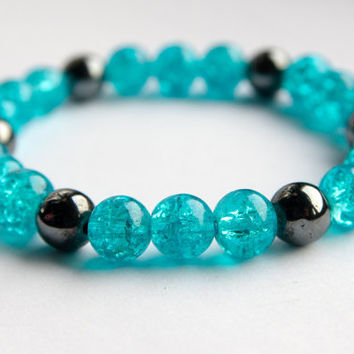 Turquoise crackle glass stretch bracelet, uketsypromo0313