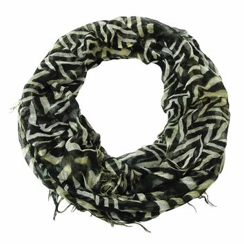Collection Eighteen Women's Animal Print Fringe Infinity Scarf