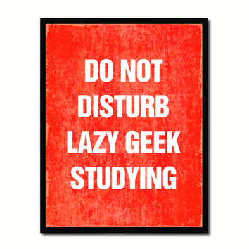 Do Not Disturb Lazy Geek Studying Funny Typo Sign 17014 Picture Frame Gifts Home Decor Wall Art Canvas Print