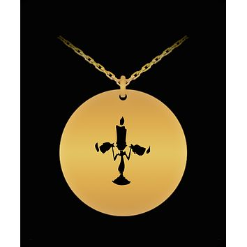 Enesco Chandelier Beauty And The Beast Laser Cut Pendent Necklace