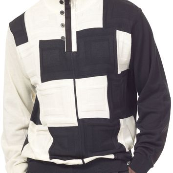 Montique Quarter Zip Acrylic Knitted Square Check Blocks Plaid Designer Men's Sweater SW13