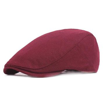 Mens Women Winter Warm Felt Beret Hat Casual Visor Forward Cabbie Hat Adjustable