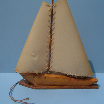 1950's Wooden Table Lamp with Bakelite Switch in the Shape of a Sailing Yacht / Motor Boat