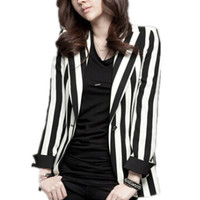 Free Shipping 2015 Spring Fall new Korean Slim small suit Jackets, thin temperament black and white vertical striped blazers-in Blazers from Women's Clothing & Accessories on Aliexpress.com | Alibaba Group