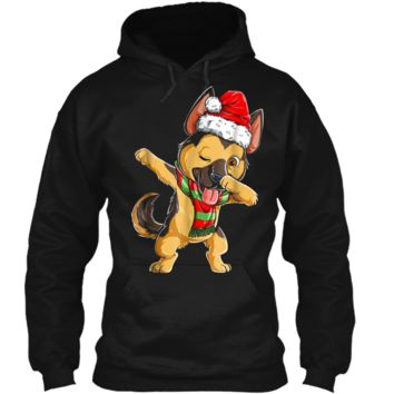 Dabbing German Shepherd Santa Christmas Kids Gifts Pullover Hoodie 8 oz