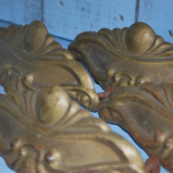 Brass Drawer Pullers , Art Deco Style , Rusty Home Hardware , Shabby Ornament