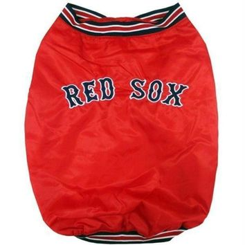 spbest Boston Red Sox Pet Dugout Jacket