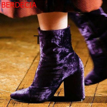 Purple Suede Velvet Ankle Boots up to Size 10.5 (26.5cm EU 43)