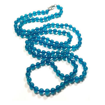 "Apatite Hand Knotted  Necklace , Round Apatite Gemstones Beads , Apatite 36 "" Long Beaded Necklace"