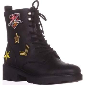 Seven Dials Kris Embroidered Combat Boots, Black, 6 US