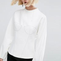 ASOS WHITE Long Sleeve Bodice Top With Stich Detail at asos.com