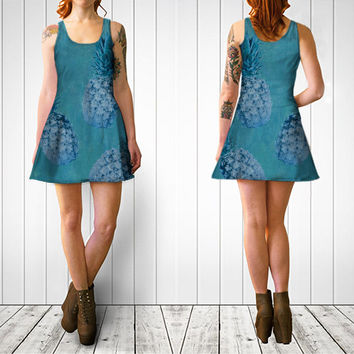 Lady's Summer dress Artistic print of pineapples dress Sexy dress in black and blue