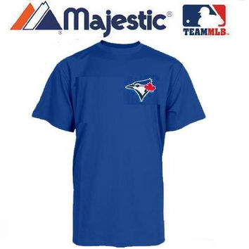 Toronto Blue Jays (ADULT 3X) 100% Cotton Crewneck MLB Officially Licensed Majestic Major League Baseball Replica T-Shirt Jersey
