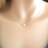 Tiny, Pearl, Necklace, Small, Pearl, Necklace, Dainty, Pearl, Necklace, Silver, Minimal, Simple, Jewelry, Gift