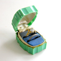 Vintage Double Ring Box Turquoise Blue Plastic for Engagement Ring Wedding Band Set
