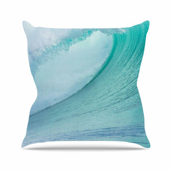 "Susan Sanders ""Ocean Blue Wave"" Teal  Throw Pillow"
