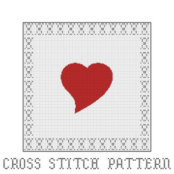 Heart, Heart Shape, Valentines, Love, Cross Stitch Pattern, Home Decor, Gift