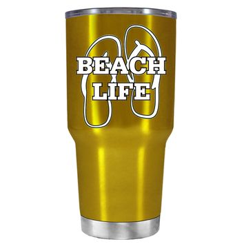 The Beach Life Sandals on Translucent Gold 30 oz Tumbler Cup