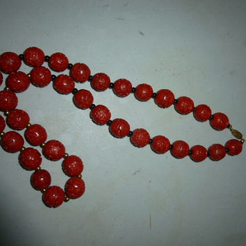 Vintage Asian Cinnabar Bead Necklace