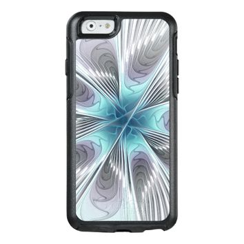 Elegance, Modern Blue Gray White Fractal Flower OtterBox iPhone 6/6s Case