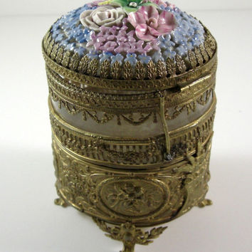 Porcelain Flower Dome Ormolu Jewelry Casket / Antique Victorian Trinket Dresser Puff Box