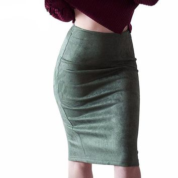 Stretchable High Waist Suede Women Bodycon Pencil Skirts