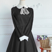 Black Cotton Doll Collar Long Sleeves Fashion Lolita Dress
