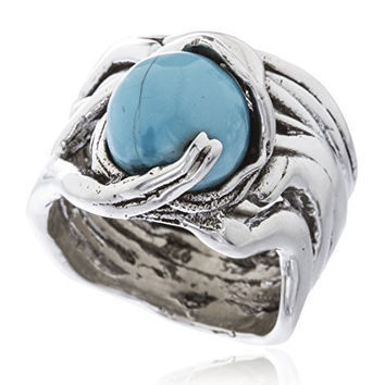 Sterling Silver Ring Basket Swirl with Ball Stone (Baby Blue / Size 7)
