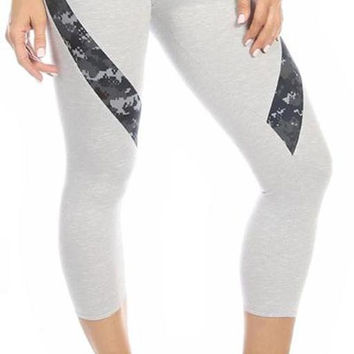 Sexy Hi Lo Waist Blue Digital Camo Combat Athletic Capri Pants - Grey/Blue