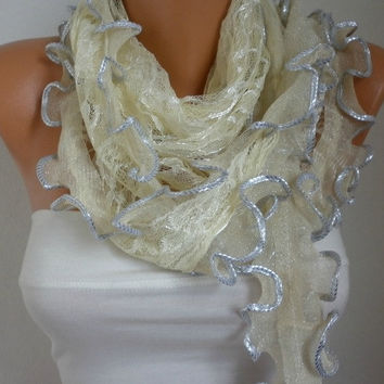 Pale Yellow Lace Scarf Shawl Scarf Cowl Scarf - Light Yellow - fatwoman
