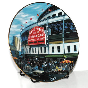 "WRIGLEY FIELD Bradford Exchange Collector Plate from the ""Take Me Out to the Ball Game"" Series - (#100.36)"