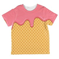 Strawberry Pink Melting Ice Cream Cone All Over Toddler T Shirt