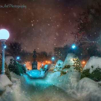 A Walk in the Boston Public Garden at Night in the Winter during a Snow Storm