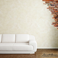 Wall Decals, Brick Wall Fabric Wall Decal Set