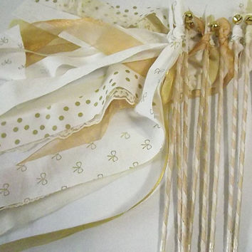 175 Wedding Bell Wands, Triple Streamer Favors, Wedding Send Off, Fabric Lace & Ribbon Wands, Large Event Bulk Party Favors