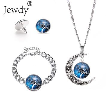 Life of Tree Moon Glass Pendant Necklace Set Hot Jewelry Fashion Statement Crystal Pendant Galaxy Lovely Silver Necklace Female