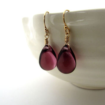 Amethyst purple glass earrings, Czech glass jewelry, gold fill jewelry, aubergine teardrops, dark amethyst earrings, plum purple teardrop