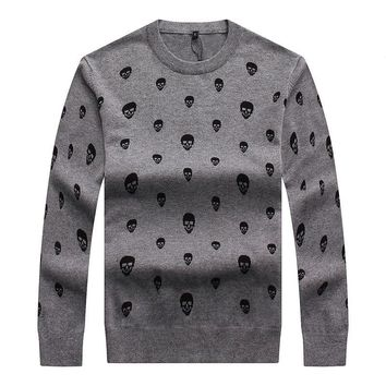 Men Winter Embroidery Skull Knit Casual Sweater