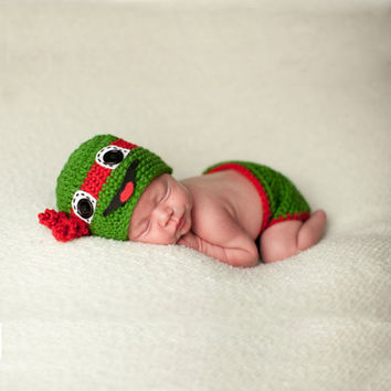Ninja Turtle Knitted Turtle Baby Hat with Diaper Cover